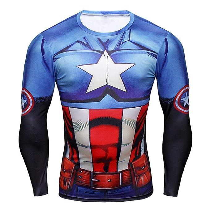 801376091e9e84 Inception Pro Infinite 16025 - Maglia T-Shirt Sportiva Manica Lunga con  Stampa Capitan America per Uomo - Yjy - 005: Amazon.it: Abbigliamento