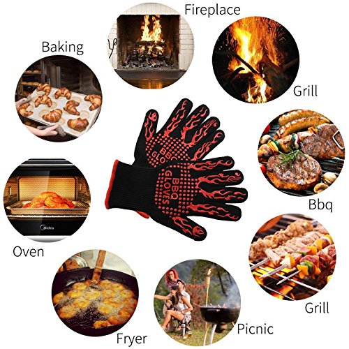 LUXJET BBQ Gloves,Silicone Anti-Slip Kitchen Gloves, 932°F Extreme Heat Resistant Oven Mitts with 100% Cotton Lining,Use in Cooking, BBQ,Microwave, Fireplace Tools, Outdoor (1 Pair)