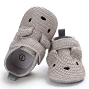 Sawimlgy US Infant Baby Non Skid Adjustable Slippers Boys Girls Fleece Booties with Grippers Cartoon Moccasins Socks Frist Crib Shoes (M:6-12 Months, C-Grey)
