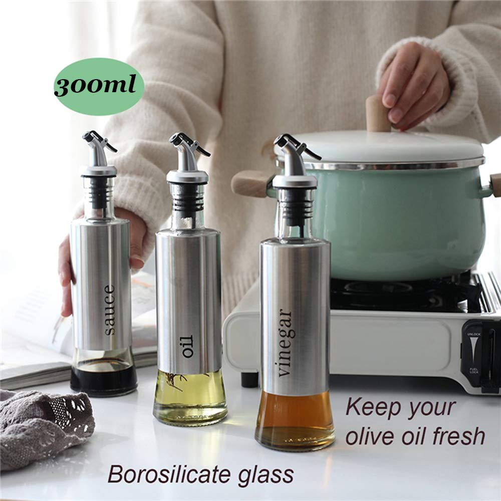 Oil Vinegar and Sauce Dispenser Bottle with Stainless Steel funnel - 11oz/300ml Oil Vinegar and Sauce Cruet Pourer Dispensing Glass and Stainless Steel Bottles for Kitchen