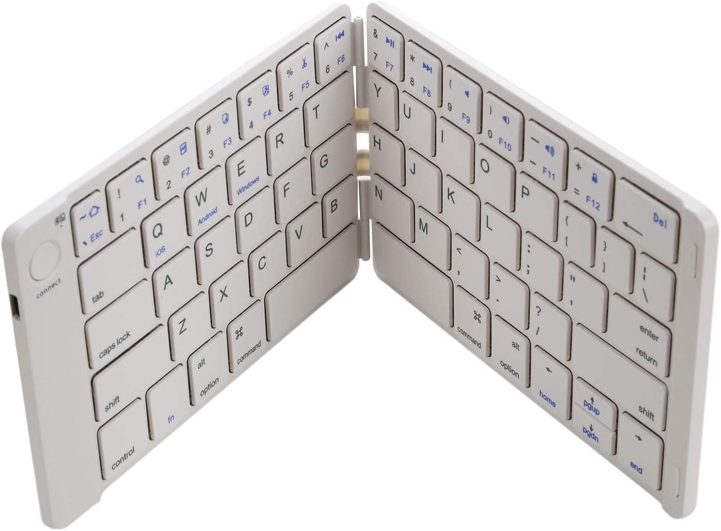 Value-5-Star White Foldable Bluetooth Keyboard Ultrathin Rechargeable Folding Bluetooth Wireless Keyboard