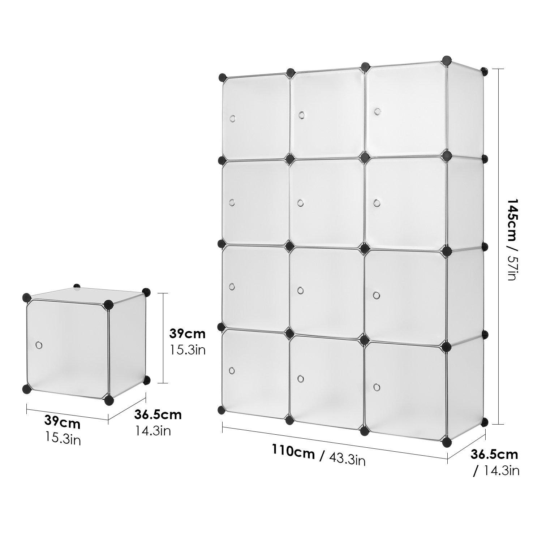 Homa Armoire Etag/ère /à Chaussures Cube de Rangement Porte Chaussures de 12 Cubes Plastique DIY pour Entr/ée Chambre Salon 110x145x37.5cm