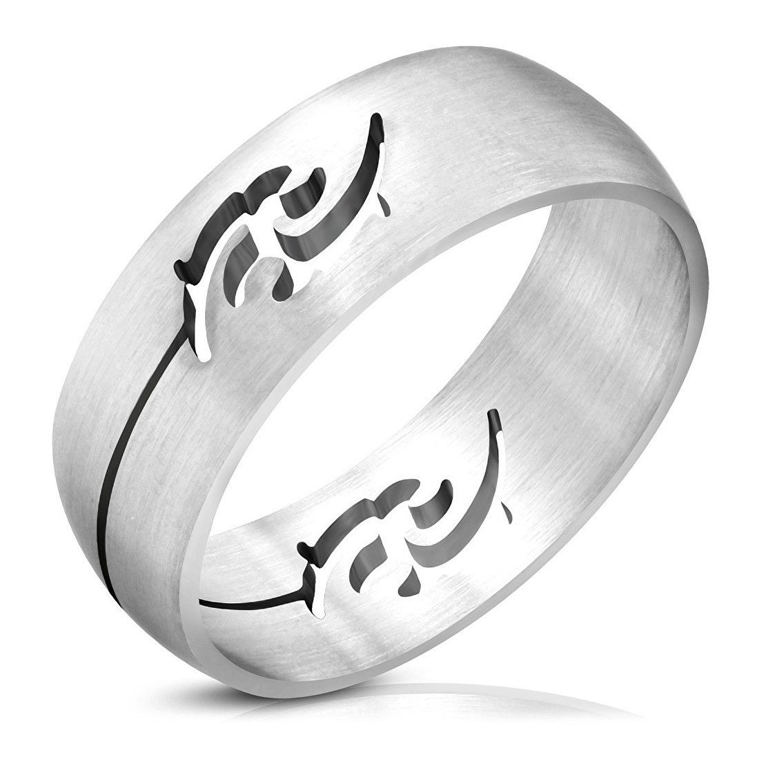 Stainless Steel Matte Finished Cut-out Tribal Half-Round Band Ring