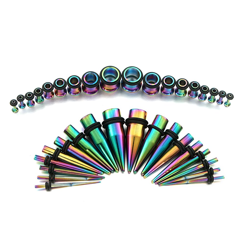 Rainbow Ear Gauges Stretching Kit 36 Pieces Stainless Steel Tapers with Plugs 14G - 00G Set - 18 Pairs Vcmart DRK163402