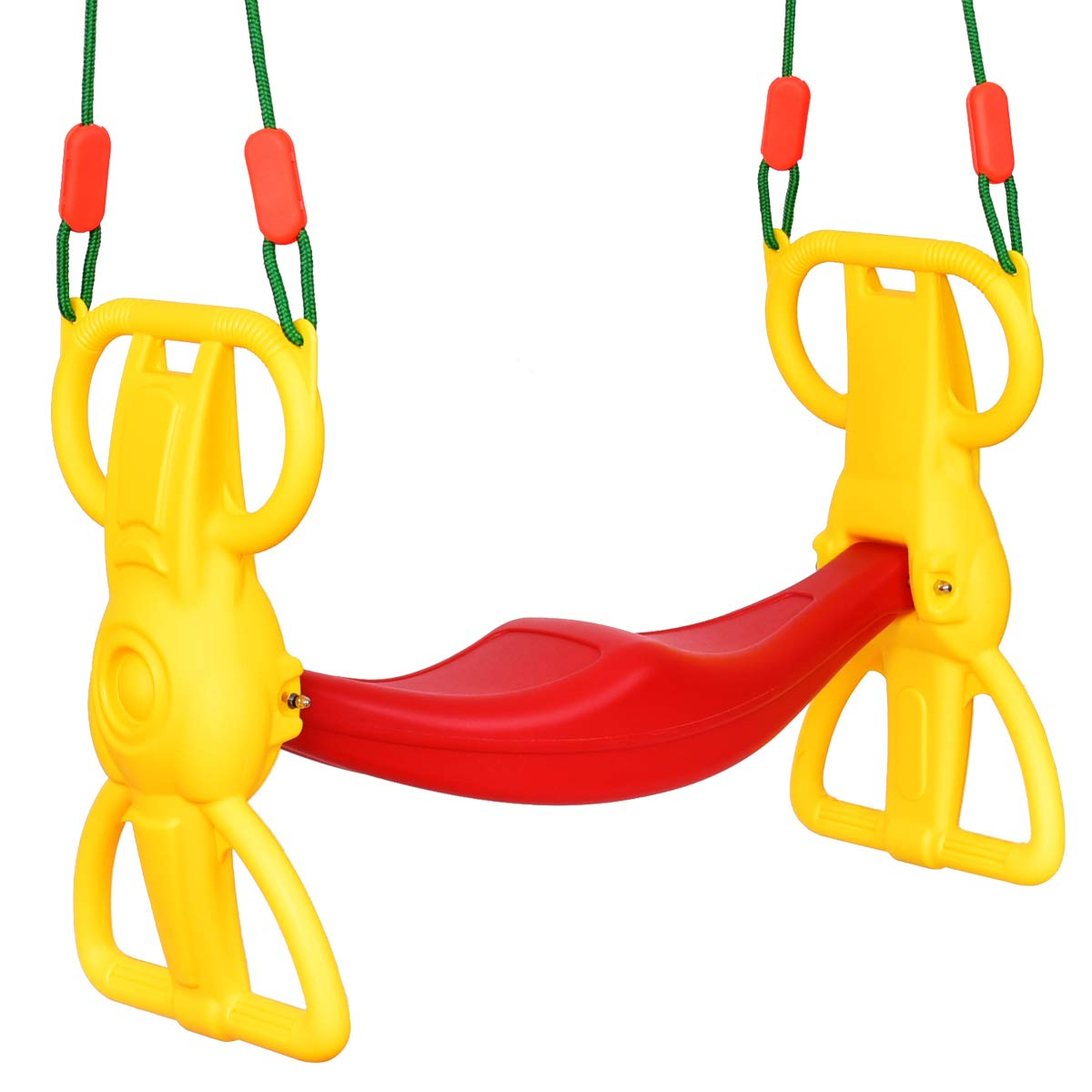 Costzon Rider Swing with Hangers, Wind Rider Glider Swing for Kids Playground (Back to Back Rider Swing for 2 Kids)