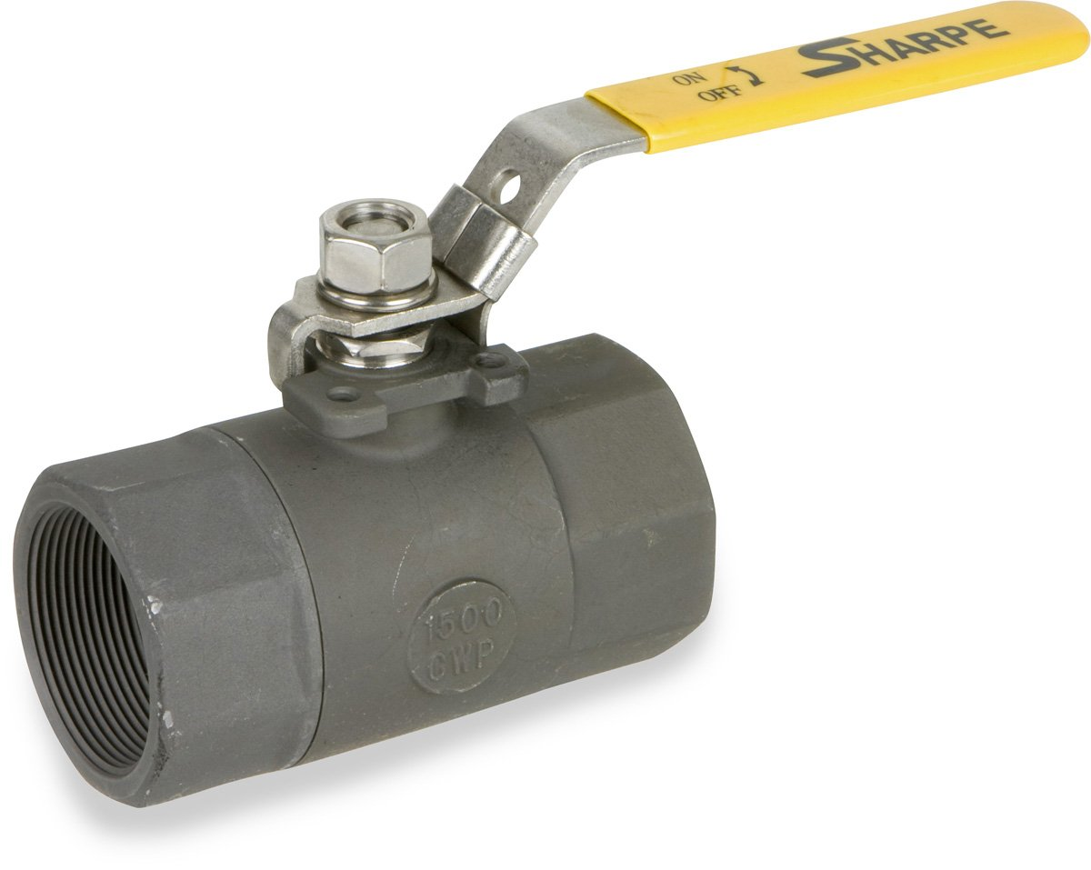 Two Piece 2 NPT Female 2 NPT Female Smith-Cooper International SV54574020 Sharpe Valves 54574 Series Carbon Steel Ball Valve with Mounting Pad Lockable Lever Handle