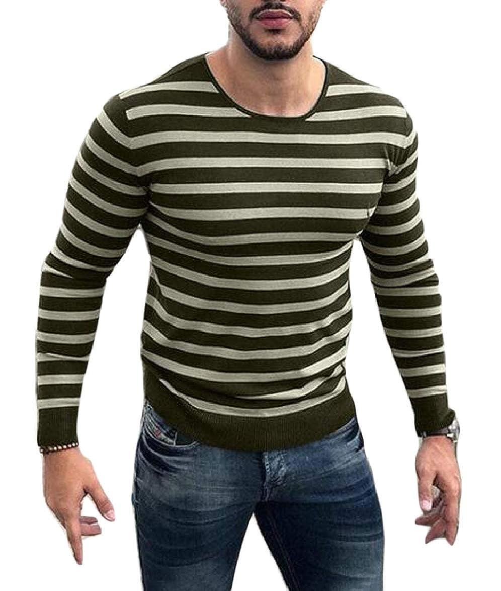 RRINSINS Men Casual Sweater Long Sleeve Round Neck Stripe Pullover Knitwear Top