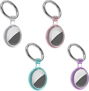 4 Pack Case for Apple Airtag Tracker, Air Tags Keychain for Pets, Airtag Key Ring for Dogs Collar Backpack Trunk, 360 Degree Cover Air Tag Holder for Waterproof Anti-Lost (Clear+Pink+ Blue+Purple)
