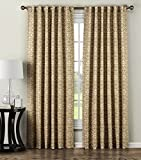 Window Elements Allure Printed Cotton Blend Rod Pocket and Back Tabs 104″ x 84″ Curtain Panel Pair, Taupe