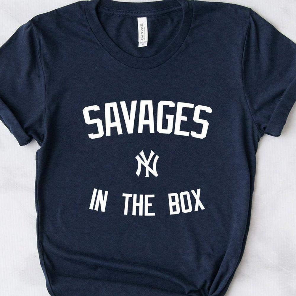Yankees Savages In The Box Fan Tee /_Savages in the Box/_ Torres Judge Stanton Voit Gregorious Sanchez Encarnacion LeMahieu Sabathia German Gift T-Shirt for Men Woman