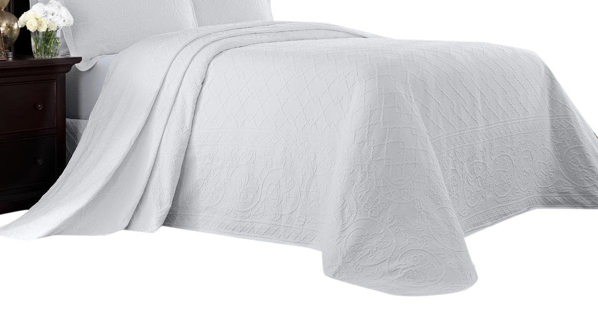 Williamsburg 048975017692 King Richmond Bedspread - White King Richmond Bedspread,White