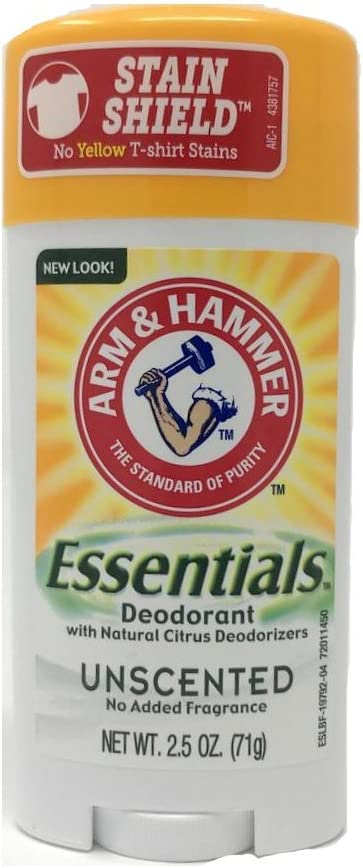 Arm & Hammer Essentials Solid Deodorant, Unscented,2.5 oz, 6 Count