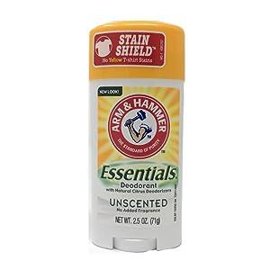 Arm & Hammer Essentials Natural Deodorant, Unscented 2.5 oz (71 g)