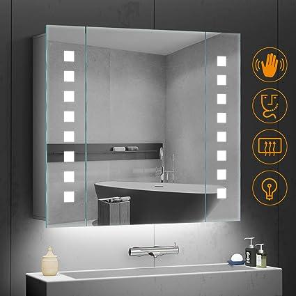 Quavikey LED beleuchtete Badezimmerspiegel Kabinett Aluminium badezimmerspiegel mit hintergrundbeleuchteter LED beleuchtet Ra