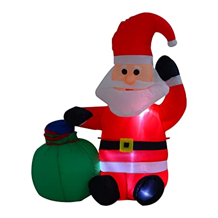 homcom inflatable blow up christmas santa claus 120cm led yard holiday decoration