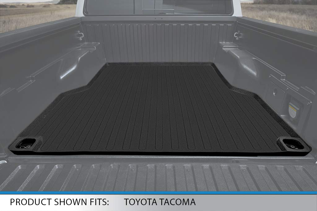 SMARTLINER SA0354//B0207//K0207 Floor Mats 2 Rows and Truck Bed Liner Set Black for 2018-2020 Toyota Tacoma Double Cab