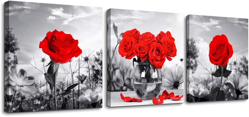 """Canvas Wall Art for Bedroom Black and White Landscape red Rose Flowers Bathroom Wall Decor Canvas Prints Watercolor 12"""" x 12"""" 3 Pieces Framed Modern Home Decoration Living Room Office Kitchen Artwork"""