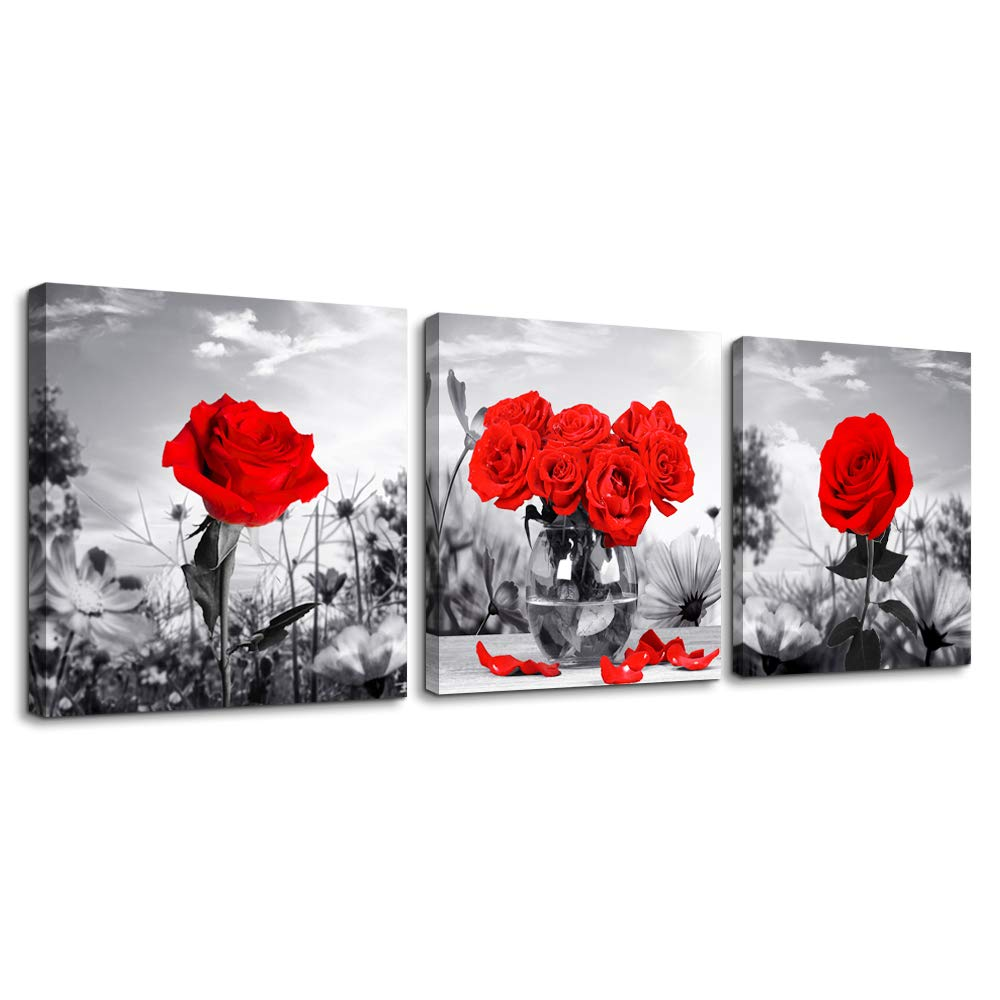 43f1a38ac2f Canvas Wall Art for Bedroom Black and White Landscape red Rose Flowers  Bathroom Wall Decor Canvas Prints Watercolor 12