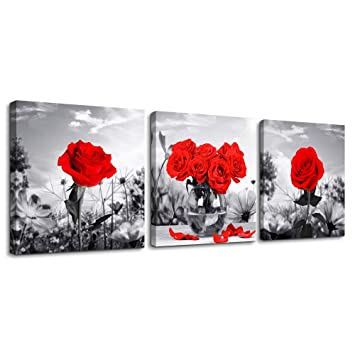 Excellent Canvas Wall Art For Bedroom Black And White Landscape Red Rose Flowers Bathroom Wall Decor Canvas Prints Watercolor 12 X 12 3 Pieces Framed Modern Download Free Architecture Designs Lukepmadebymaigaardcom