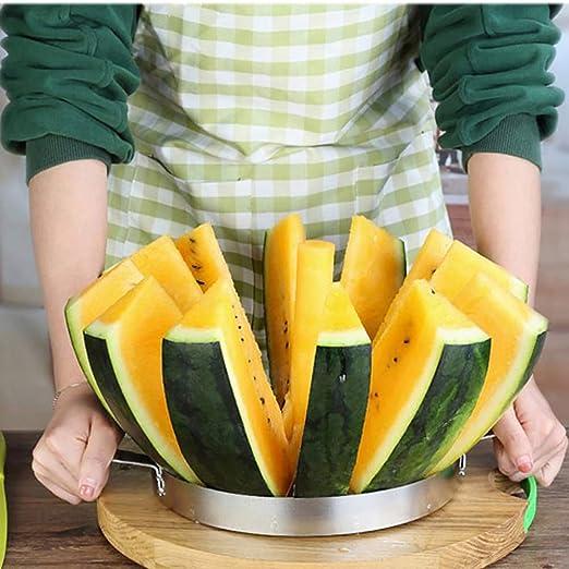 STSERI Wassermelonenschneider K/üchenhelfer Schnelle Wassermelonenschneider Schneidwerkzeuge Home Edelstahl Obstschneider Cutter