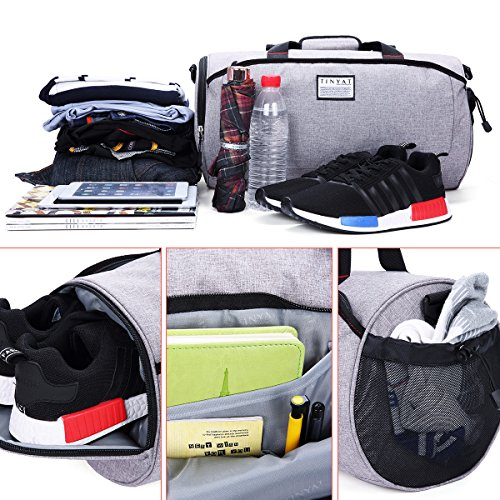 5ccc51af332f TINYAT Sports Gym Luggage Bag with Shoes Compartment Duffel Bags for Women  and Men Flight Bag