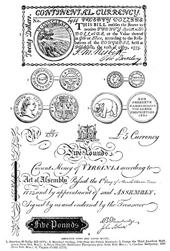 19th Century Currency - Colonial American Currency Na Selection Of American Currency Dating From 1694 To 1788 Line Engraving 19Th Century Poster Print by (18 x 24)