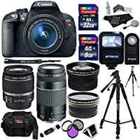 Canon EOS Rebel T5i 18.0 MP Digital SLR Camera 18-55mm STM Lens, Canon EF 75-300mm f/4-5.6 III Lens, Polaroid .43x HD Wide Angle Lens 2.2X High Definition Telephoto Lens, 40 GB, Tripod & Accessory Kit Explained Review Image
