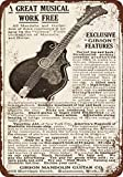 1911 Gibson Guitars and Mandolins Vintage Look Reproduction Metal Tin Sign 12X18 Inches