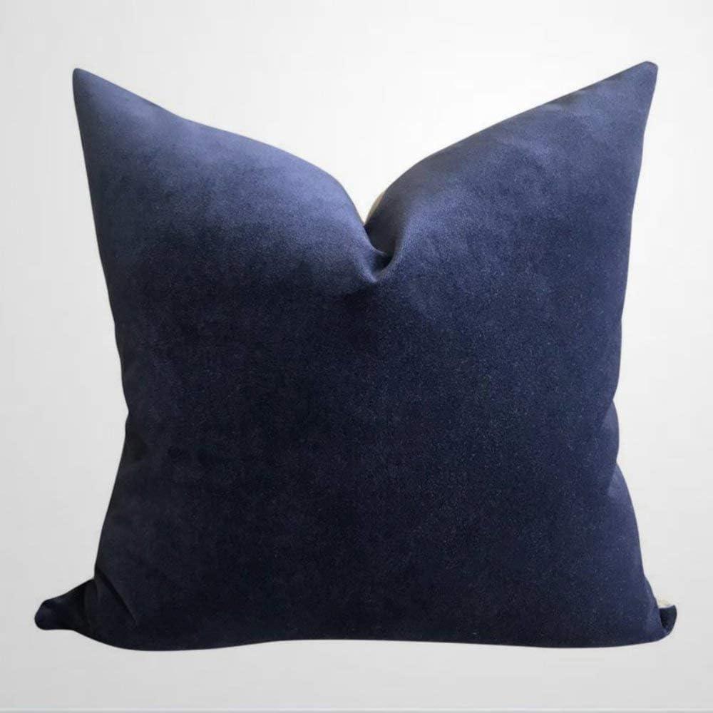 EricauBird Robert Allen Navy Blue Velvet Pillow Cover Designer Velvet Blue High End Pillows Throw Pillow Cover Cushion Cover Linen Square Pillow case 18x18 inch