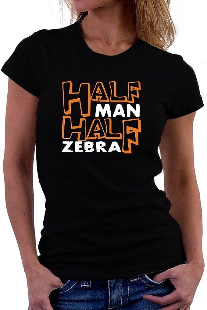 Teeburon Half Man, Half Zebra Camiseta Mujer: Amazon.es: Ropa y accesorios