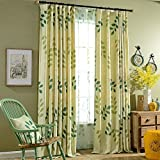 KoTing Blackout Lining Drapes,Green Willow Leaves and Branches In the Spring Window Curtain,50W