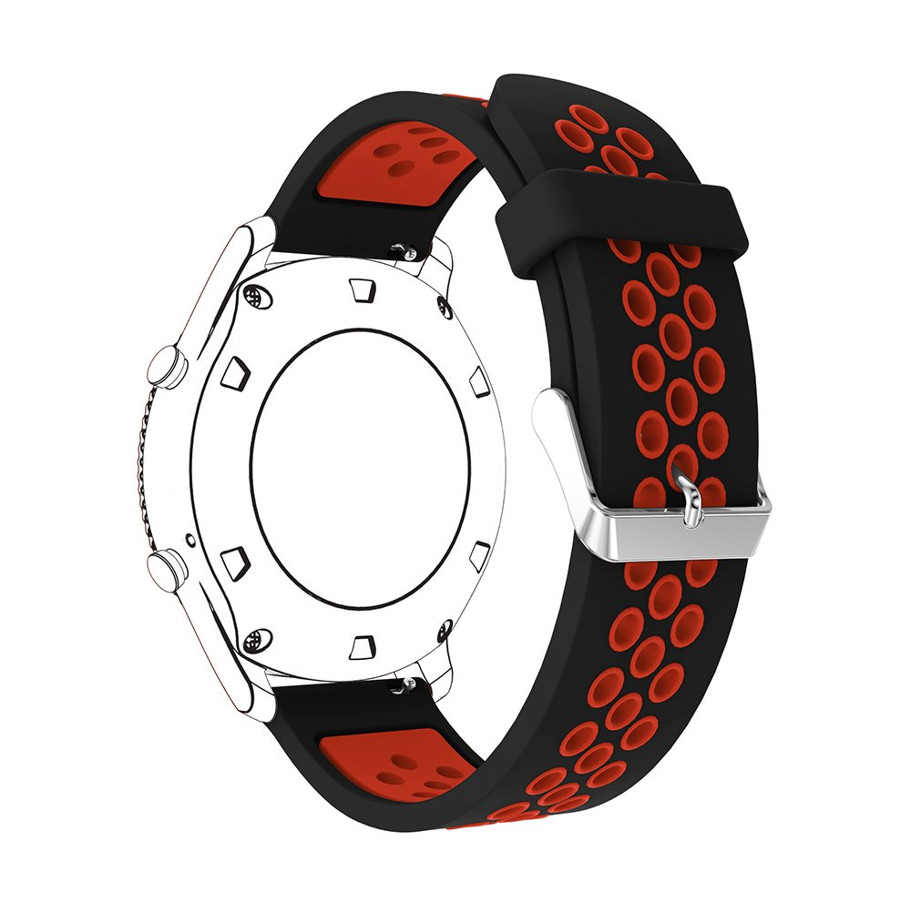22mm Silicone Replacement Band for Samsung Gear S3 Frontier Sports Watch Band Strap Bracelet for Samsung Gear S3 Classic Frontier Smart Watch (Black Red)