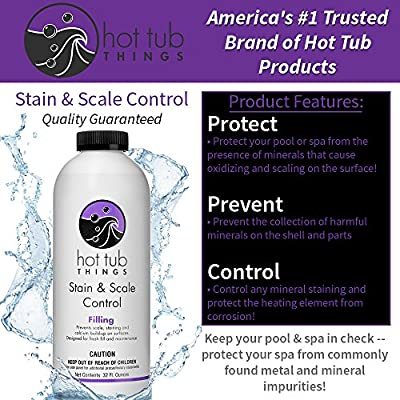 Hot Tub Things Stain and Scale Control 32 Ounce - Prevents Discoloration and Staining of Spa Surface