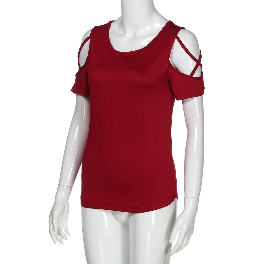Sumeimiya Women Off Shoulder Dress,Ladies Summer Solid Dress Cross Short Sleeve T-Shirt Skirt Wine Red by Sumeimiya Dress (Image #8)