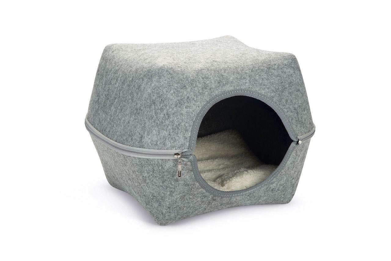 Karlie 521603 Yuit - Gabbia per Gatti, in Feltro, 44 x 42 x 32 cm, colore  Grigio