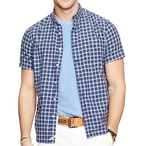 Polo Ralph Lauren Mens' Short Sleeve Button Down Plaid Cotton Oxford Shirt (Large, Blue)