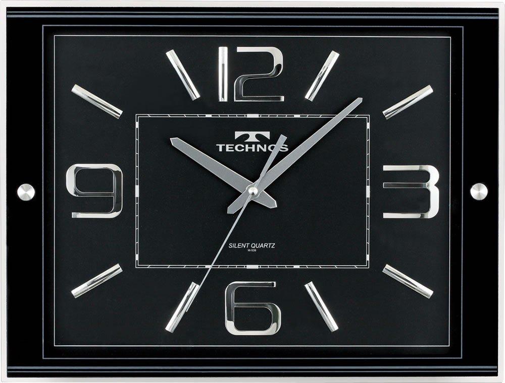 TECHNOS (テクノス) 掛時計 クロック W-539 BK ブラック B004M90IYS