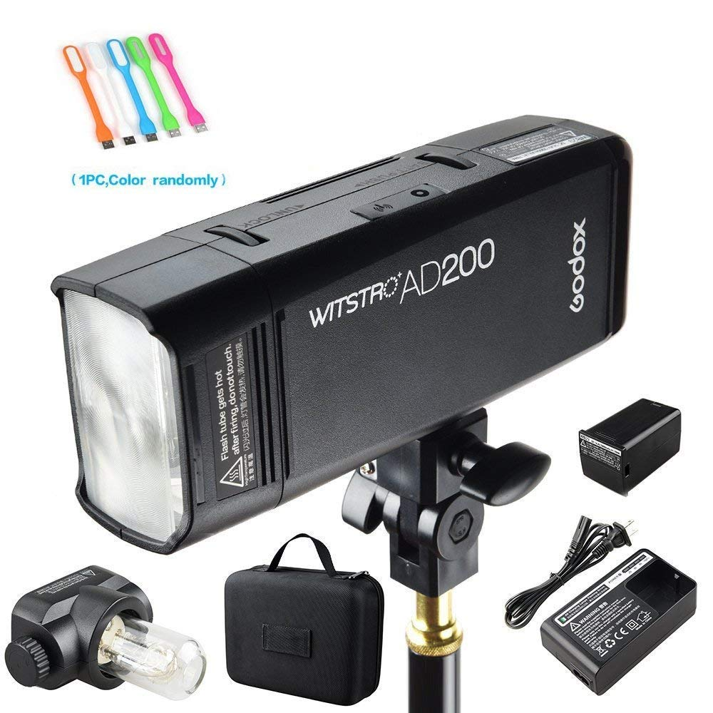 Godox AD200 200Ws 2.4G TTL Speedlite Flash Strobe 1/8000 HSS Monolight with 2900mAh Lithium Battery and Bare Bulb Flash Head to Provide 500 Full Power Flashes Recycle in 0.01-2.1 Second by Godox