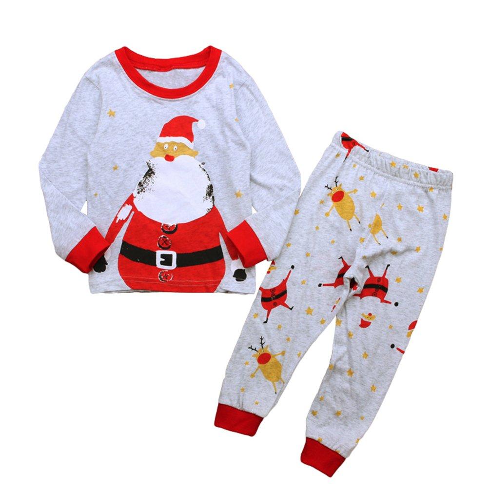 Yiiquan Ragazzo Ragazze Pigiama di Natale Pajamas Babbo Natale Pantaloni T-Shirt Neonato