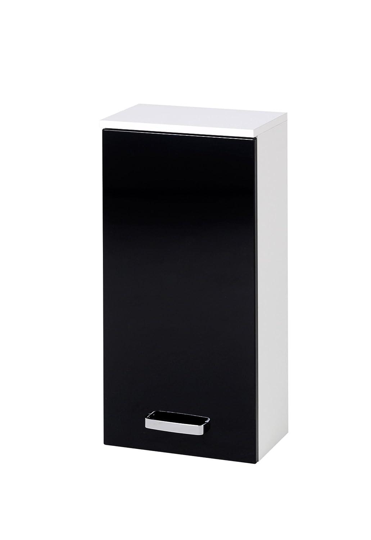 Held Möbel 012.3062 Denver Hängeschrank 1-türig, 2 Einlegeböden, 35 x 69 x 20 cm, hochglanz-schwarz weiß