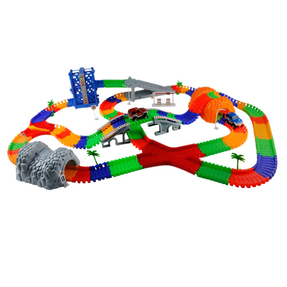 8199b65d22f9e Race Car Train Track Set Over 288 Pieces Flexible Tracks Set with Lift  Channel Branch Slope Road Sign Two Flashing Race Cars Vehicles for  Children s ...