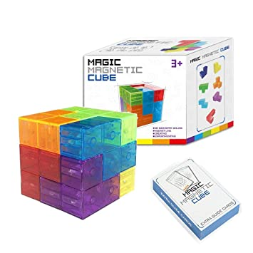 House of Queens Magic Magnetic Building Block - Educational Magnetic Tiles for Kids Stress Relief Toy Puzzle Cubes to Develops Intelligence, Ideal for Birthday Gifts (Crystal)