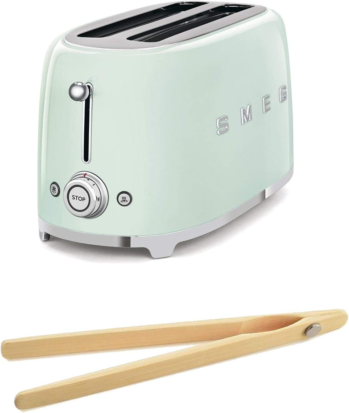 Smeg TSF02PGUS 50's Retro Style Toaster Bundle with Norpro Bamboo Tongs - (Pastel Green) 4 Slice