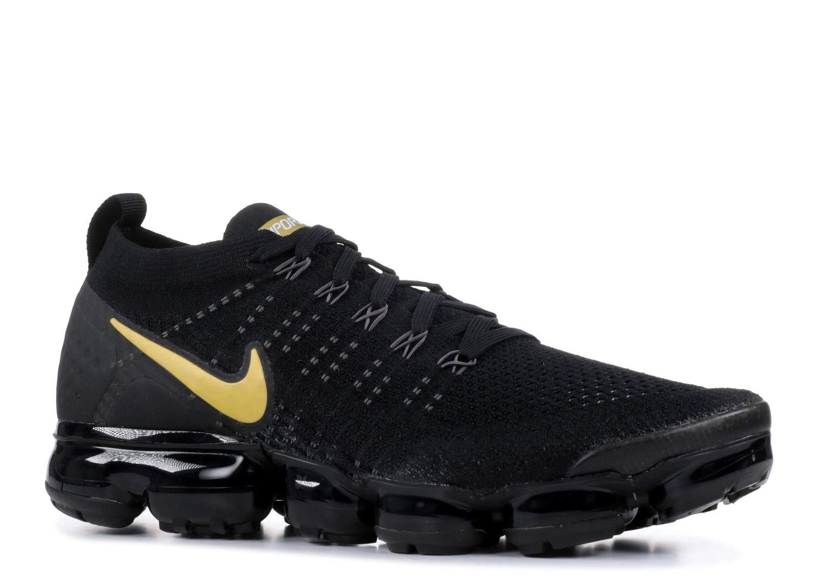 new product fe40d 5e6df Nike Women's Air Vapormax Flyknit 2 Running Shoes (7, Black/Gold)