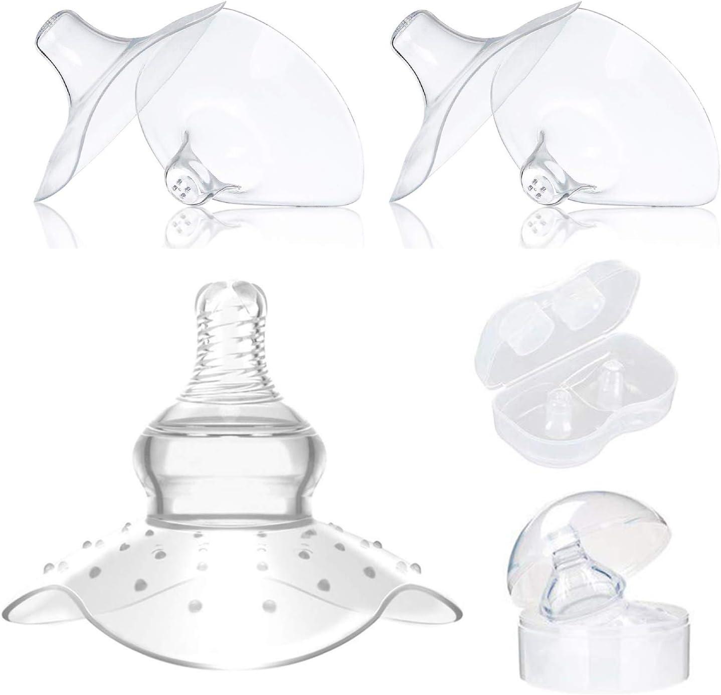 Chapeau d/'allaitement Coquille d/'Allaitement Coquillage allaitement,5 pack Prot/ège Mamelon avec Boite de rangement Prot/ège Mamelons Bouts de Seins en Silicone