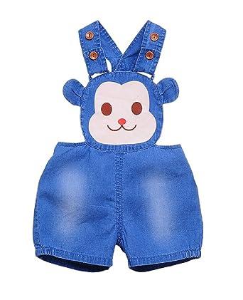 Pantalones Vaquero de Peto para Bebé Niños Niñas Corto De ...