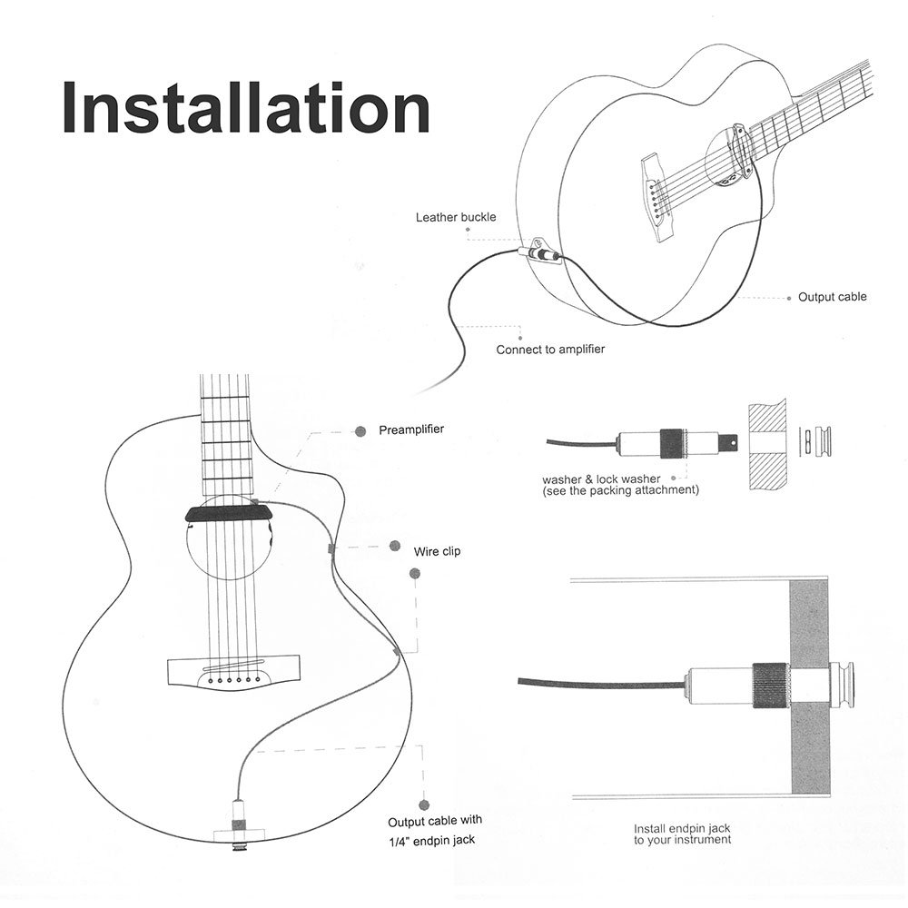 Acoustic Guitar End Pin Wiring Diagram Jack Double Preamplifier Soundhole Pickup Humbucker Musical Instruments Stage Studio 1000x1000