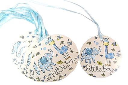 50 x azul Little Boy etiquetas de regalo y lazo de atar - Ducha de ...