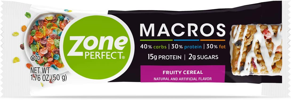 Zone Perfect Macros Protein Bars, Fruity Cereal, 20 Count