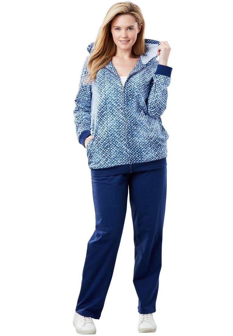 Women's Plus Size Tie Dye Knit Jacket and Pants Set. Evening Blue Tie Dye